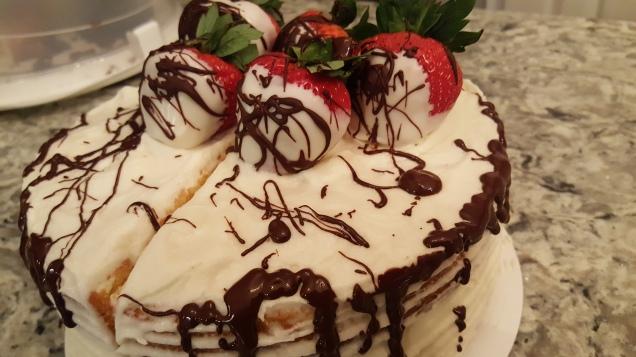 3 Layer Yellow Cake w/Strawberries and Choc Drizzle
