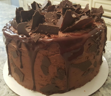 3 Layer Chocolate Cake w/Choc Ganache Frosting and Chocolate Shards