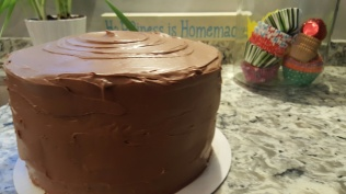 3 Layer Yellow Cake w/Chocolate Buttercream Frosting