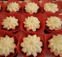 Red velvet cupcakes - moist deliciousness topped with fluffy cream cheese frosting